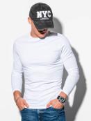 Ombre Clothing Pánské basic tričko s dlouhým rukávem Longer bílé