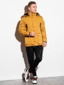 Ombre Clothing Pánská prošívaná přechodová bunda Bron hořčicová