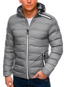 Ombre Clothing Pánská zimní prošívaná bunda Elias šedá
