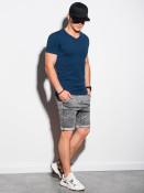 Ombre Clothing Pánské basic tričko Oliver tmavě modrá