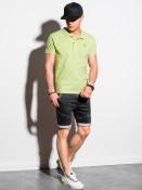 Ombre Clothing Pánské basic polo tričko Douglas limetkově zelená