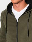 Ombre Clothing Pánská mikina na zip Blend olivová
