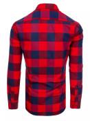 Dstreet Pánská kostkovaná košile Phollipine červeno-tmavě modro-tmavě červená