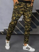 Dstreet Pánské teplákové kalhoty Sidonia maskáčovo-zelená