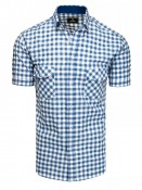Dstreet Pánská košile s krátkým rukávem Isak bílo-blankytná