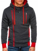 Ombre Clothing Pánská mikina na zip s kapucí Chandler tmavě šedo-červená