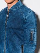 Ombre Clothing Pánská úplá jeansová bunda bez kapuce Judit