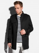Ombre Clothing Pánský kabát Eliot černý