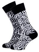 Veselé vzorované ponožky Maze černo-bílé vel. 35-38