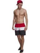 Urban Classics Pánské kraťasové plavky Girdle Černo-červeno-bílé