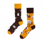 Veselé vzorované ponožky Coffee Lover černo-žluté vel. 35-38
