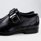 Duo Men Pánské kožené monk shoes se sponou Theloni černá