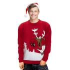 Vánoční svetr se sobem Drunk Reindeer červený
