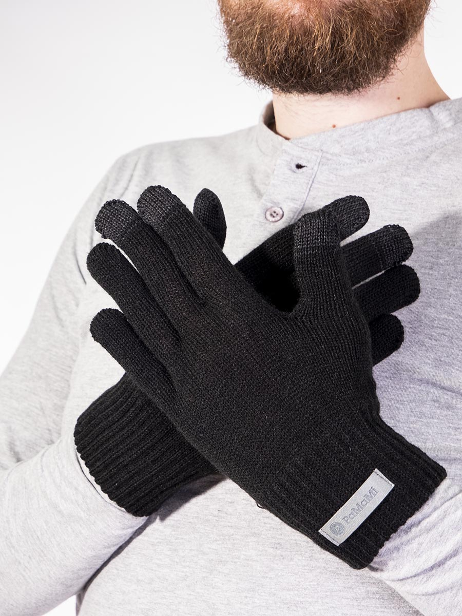 Mens Gloves Warm Black